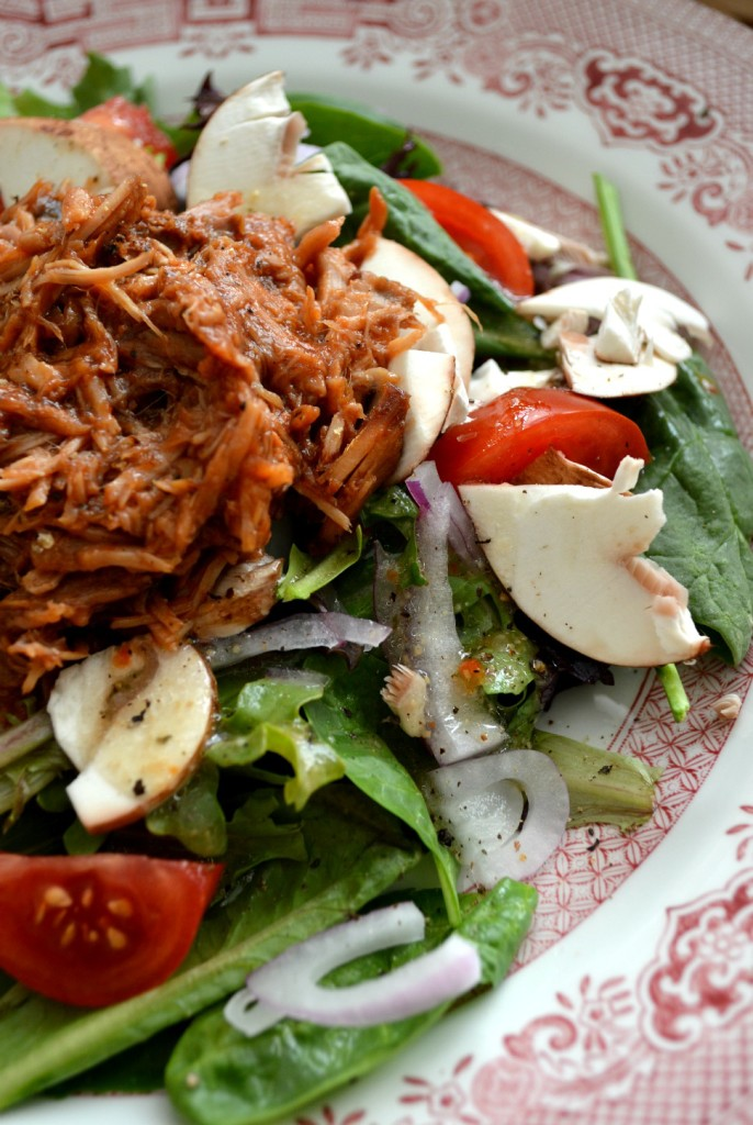 Slow Cooker Root Beer BBQ Pulled Pork (on salad) | Cozycakes Cottage